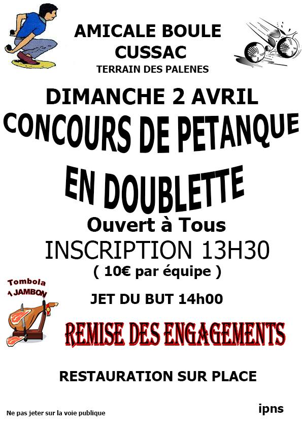 Concours de p tanque ouvert tous cussac 02 avril for Choisir des boules de petanque